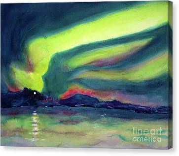 Northern Lights On Superior Shores Canvas Print by Kathy Braud