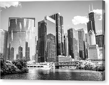 Northwest Chicago Loop Buildings Black And White Photo Canvas Print by Paul Velgos