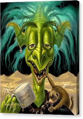 Not Enough Coffee Troll Canvas Print by Jeff Haynie