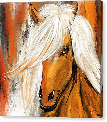 Not Your Ordinary- Colorful Horse- White And Brown Paintings Canvas Print by Lourry Legarde