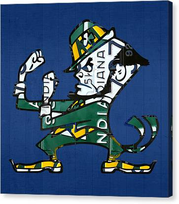 Notre Dame Fighting Irish Leprechaun Vintage Indiana License Plate Art  Canvas Print by Design Turnpike