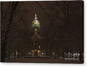 Notre Dame Golden Dome Snow Canvas Print by John Stephens