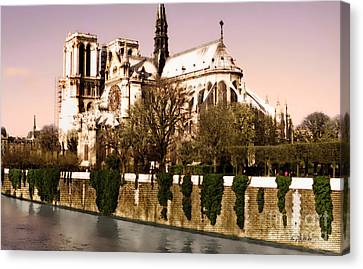 Notre Dame On The Seine Canvas Print by Linda  Parker