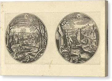 November And December, Adriaen Collaert, Hans Bol Canvas Print by Adriaen Collaert And Hans Bol And Hans Van Luyck