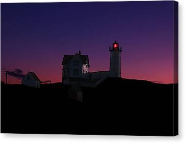 Nubble At Night Canvas Print by Andrea Galiffi