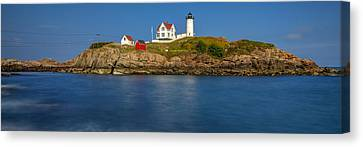 Nubble Light And A Clear Blue Sky Canvas Print by Scott Lynde