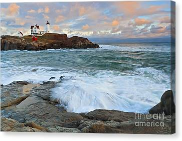 Nubble Light Sunset Canvas Print by Katherine Gendreau