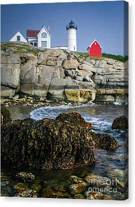 Nubble Lighthouse At Low Tide Canvas Print by Scott Thorp