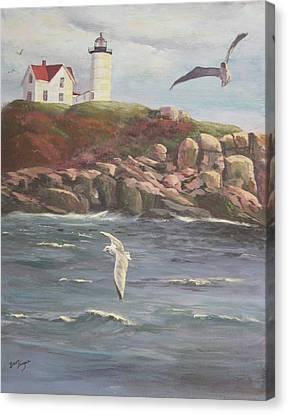 Nubble Lighthouse Canvas Print by Bev Finger