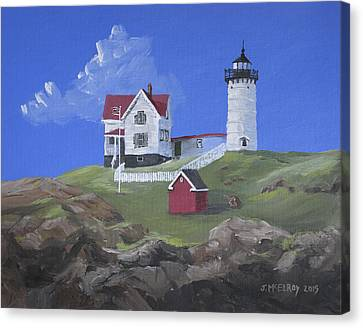 Nubble Lighthouse Canvas Print by Jerry McElroy