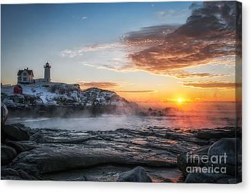 Nubble Lighthouse Sea Smoke Sunrise Canvas Print by Scott Thorp