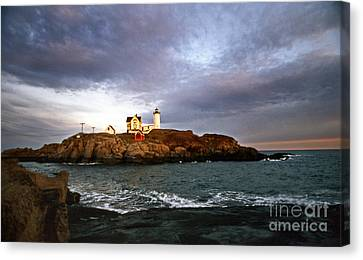 Nubble Lighthouse Canvas Print by Skip Willits