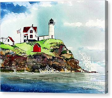 Nubble Lighthouse Canvas Print by Tom Riggs