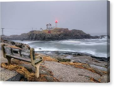 Nubble Lighthouse View Canvas Print by Donna Doherty