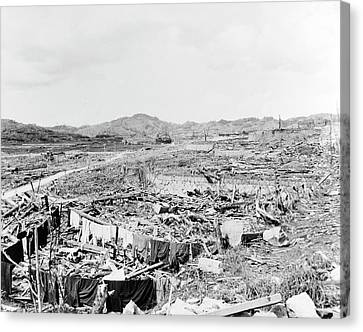 Nuclear Destruction At Nagasaki Canvas Print by Us Navy