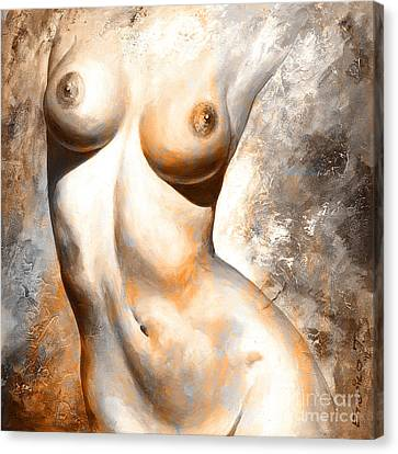 Nude Details - Digital Color Version Rust Canvas Print by Emerico Imre Toth