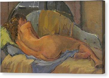 Nude On Chaise Longue Canvas Print by Pat Maclaurin