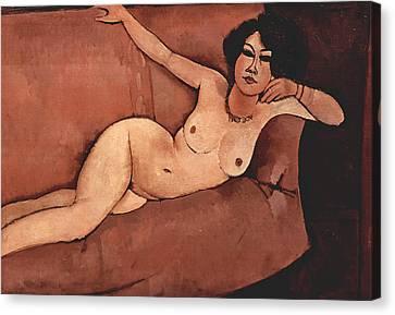 Nude On Sofa Canvas Print by Amedeo Modigliani