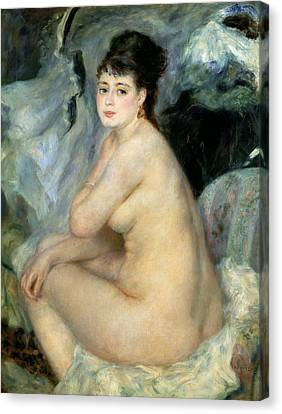 Nude Or Nude Seated On A Sofa 1876 Canvas Print by Pierre Auguste Renoir