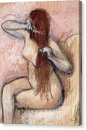 Nude Seated Woman Arranging Her Hair Femme Nu Assise Se Coiffant Canvas Print by Edgar Degas