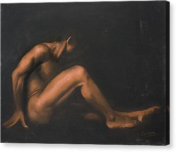 Nude Sitting Canvas Print by L Cooper