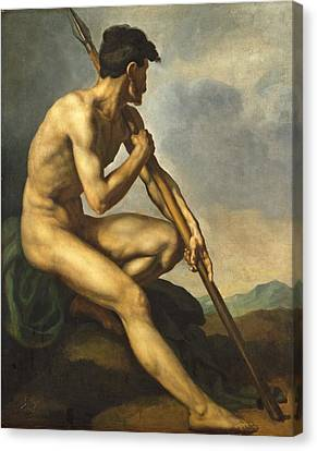 Nude Warrior With A Spear Canvas Print by Theodore Gericault