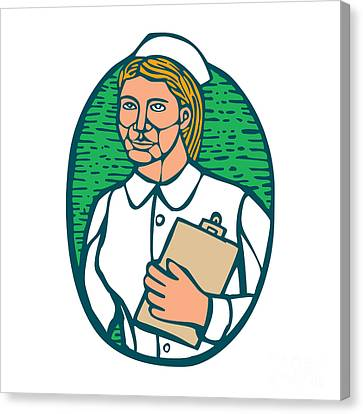 Nurse Holding Clipboard Oval Woodcut Linocut Canvas Print by Aloysius Patrimonio
