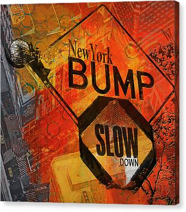 Ny - Traffic Sign Canvas Print by Corporate Art Task Force