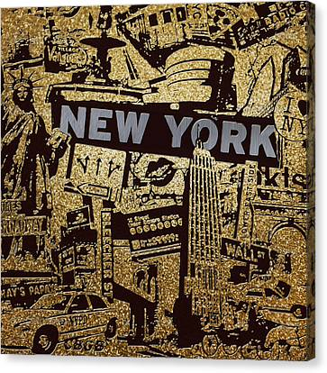 Ny City Collage - 9 Canvas Print by Corporate Art Task Force