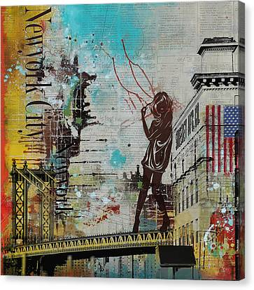 Ny City Collage 4 Canvas Print by Corporate Art Task Force