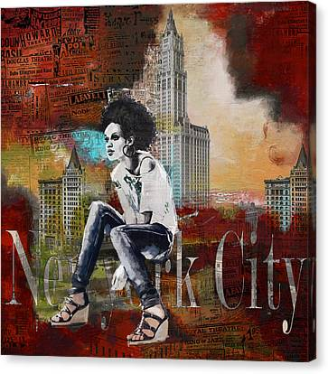 Ny City Collage 5 Canvas Print by Corporate Art Task Force