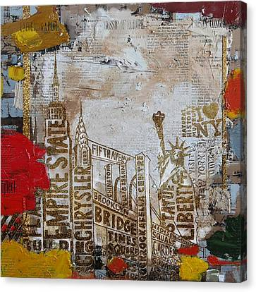 Ny City Collage 7 Canvas Print by Corporate Art Task Force