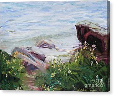 Nyack Beach Rivers Edge Canvas Print by Laura Sullivan