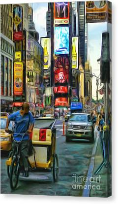 Nyc Bike Taxi Canvas Print by Jeff Breiman