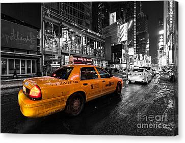 Nyc Cab Times Square Color Popped Canvas Print by John Farnan
