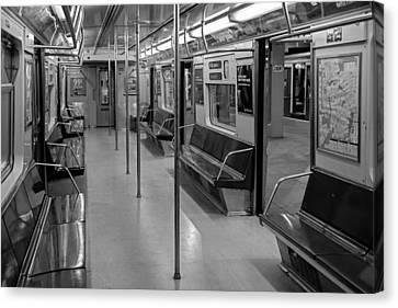Nyc F Subway Train Bw Canvas Print by Susan Candelario