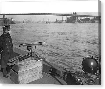 Nyc Prohibition Police Boat Canvas Print by Underwood Archives