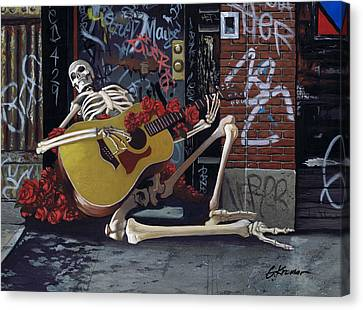 Nyc Skeleton Player Canvas Print by Gary Kroman