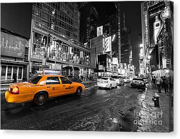 Nyc Taxi Times Square Color Popped Canvas Print by John Farnan