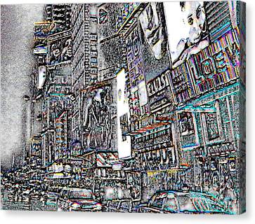Nyc - Times Square Canvas Print by Linda  Parker