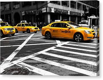 Nyc  Yellow Cab - Cki Canvas Print by Hannes Cmarits