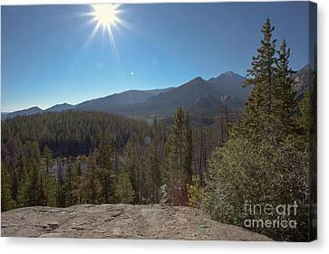 Nymph Lake And Longs Peak Canvas Print by Kay Pickens