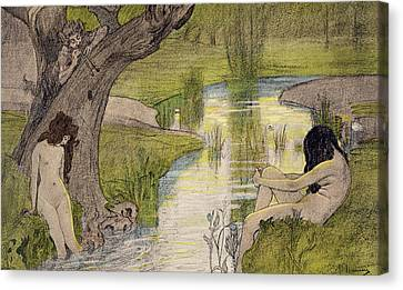 Nymphs Bathing Canvas Print by French School