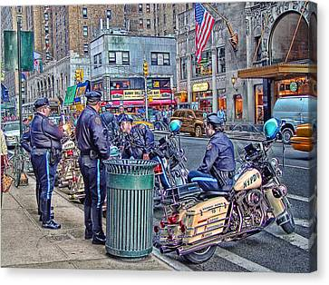 Nypd Highway Patrol Canvas Print by Ron Shoshani