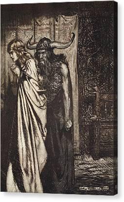 O Wife Betrayed I Will Avenge Canvas Print by Arthur Rackham