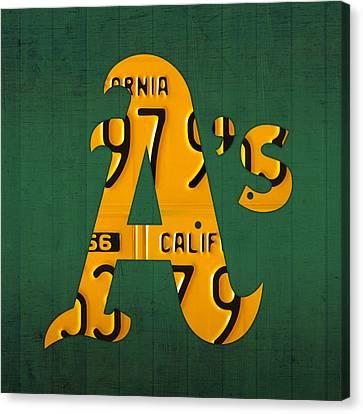 Oakland Athletics Vintage Baseball Logo License Plate Art Canvas Print by Design Turnpike