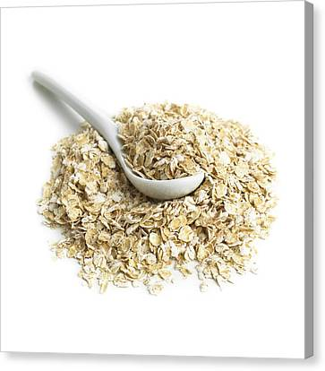 Oats And A Spoon Canvas Print by Science Photo Library