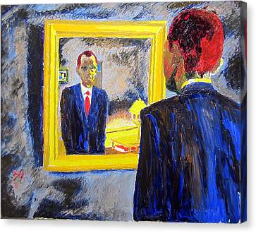 Obama In The Mirror Canvas Print by Donald William
