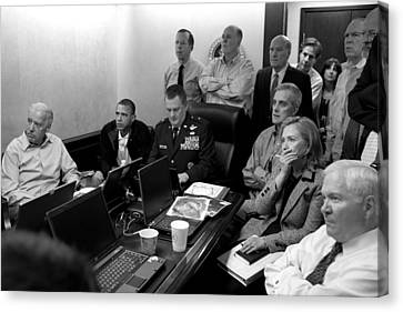 Obama In White House Situation Room Canvas Print by War Is Hell Store