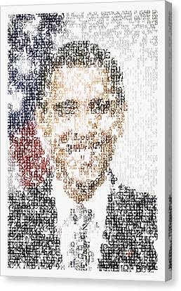 Obama Typographic Portrait Canvas Print by Celestial Images